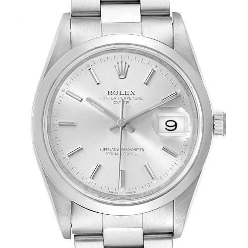 Photo of Rolex Date Silver Dial Oyster Bracelet Automatic Mens Watch 15200 Box