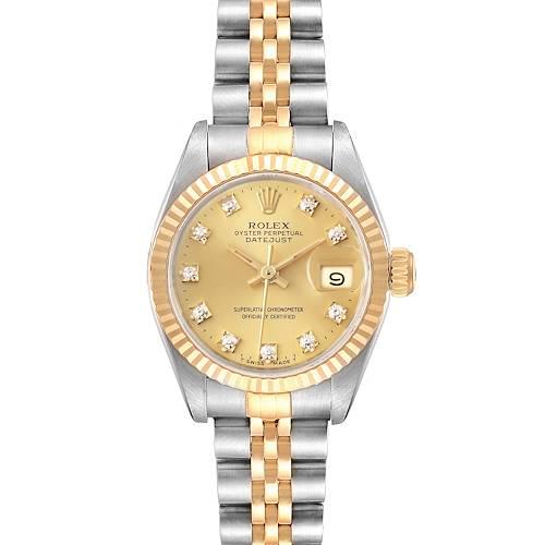 Photo of Rolex Datejust 26mm Steel Yellow Gold Diamond Ladies Watch 69173 Box