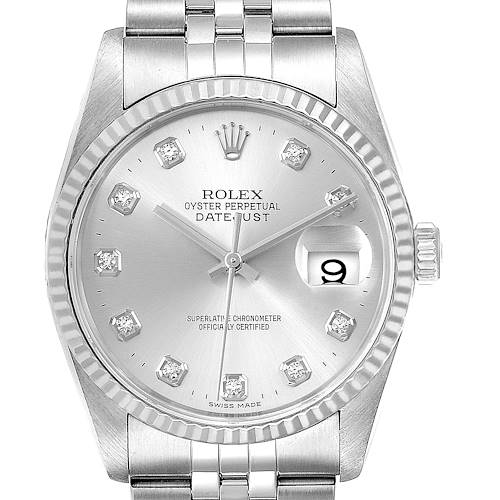 Photo of Rolex Datejust Steel White Gold Silver Diamond Dial Mens Watch 16234 Box