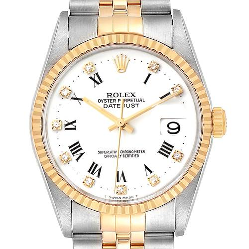 Photo of Rolex Datejust Steel Yellow Gold White Roman Diamond Dial Mens Watch 16233 Box