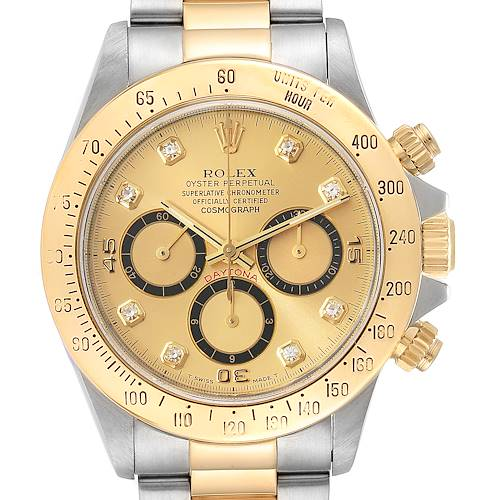 Photo of Rolex Daytona Steel 18K Yellow Gold Diamond Dial Mens Watch 16523 Box