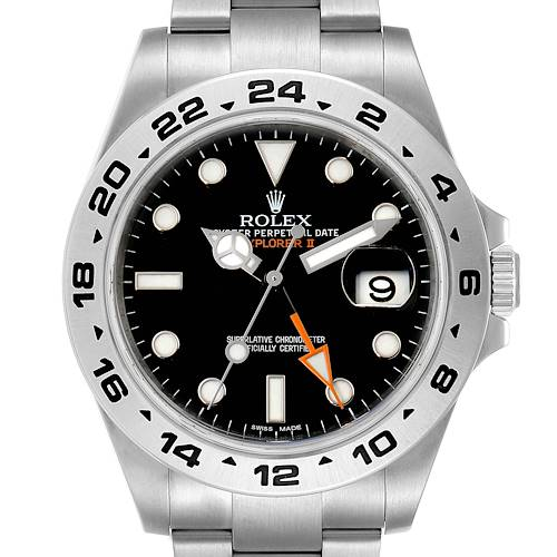 Photo of Rolex Explorer II 42 Black Dial Orange Hand Steel Mens Watch 216570 Box Card