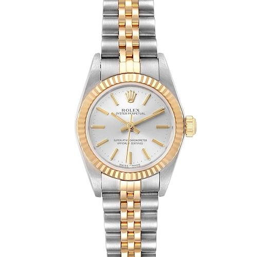 Photo of Rolex Oyster Perpetual NonDate Ladies Steel Yellow Gold Watch 76193 Box Papers