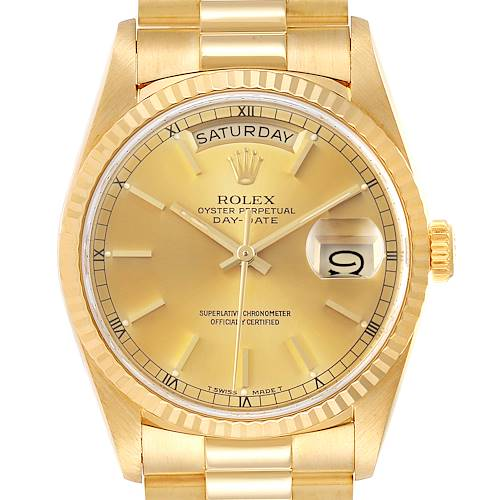 Photo of Rolex President Day-Date Yellow Gold Champagne Dial Mens Watch 18238 Box