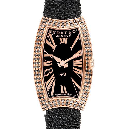 Bedat No. 3 Rose Gold Black Diamonds Stingray Strap Ladies Watch 384.490.305