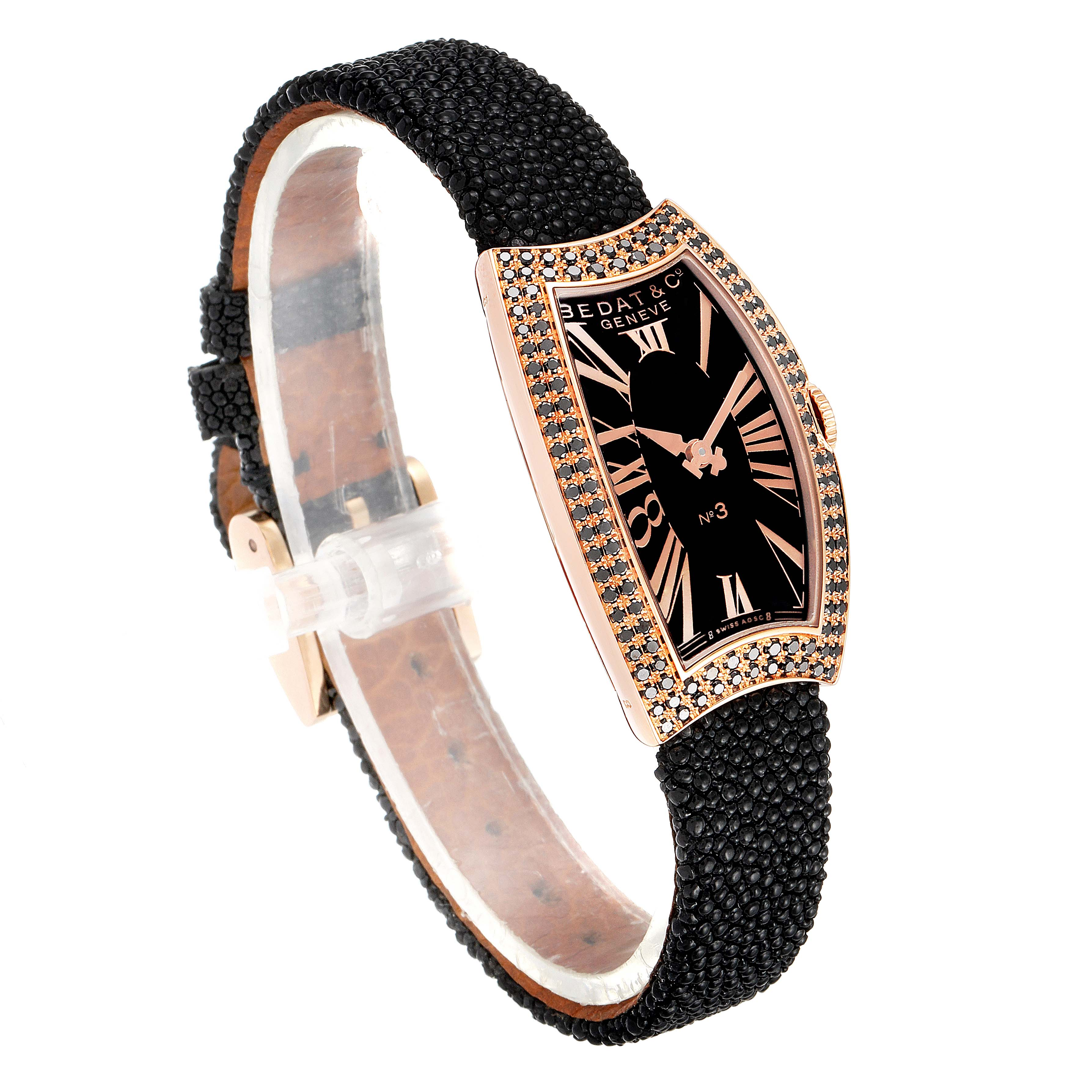 Bedat No. 3 Rose Gold Black Diamonds Stingray Strap Ladies Watch 384.490.305 SwissWatchExpo