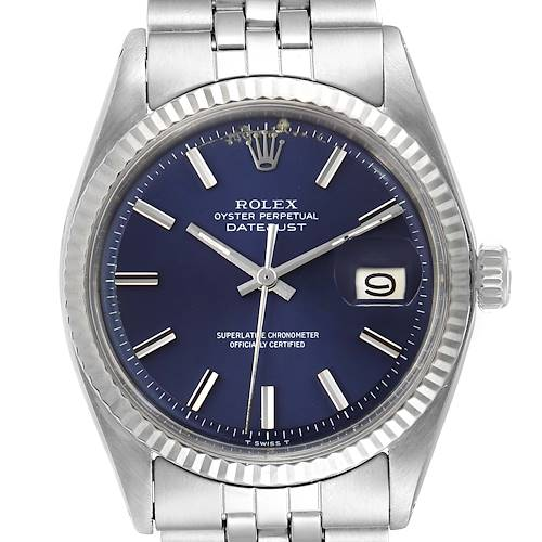 Photo of Rolex Datejust Steel White Gold Blue Dial Vintage Watch 1601