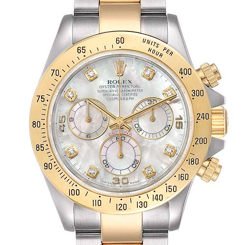 Photo of Rolex Daytona Yellow Gold Steel MOP Diamond Watch 116523 Box