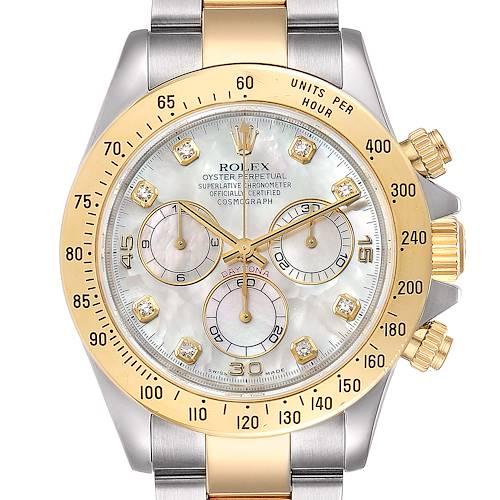 Photo of Rolex Daytona Yellow Gold Steel MOP Diamond Watch 116523 Box