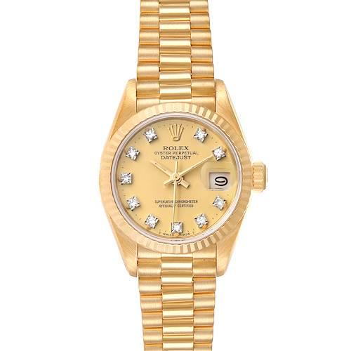 Photo of Rolex President Datejust Yellow Gold Diamond Ladies Watch 69178