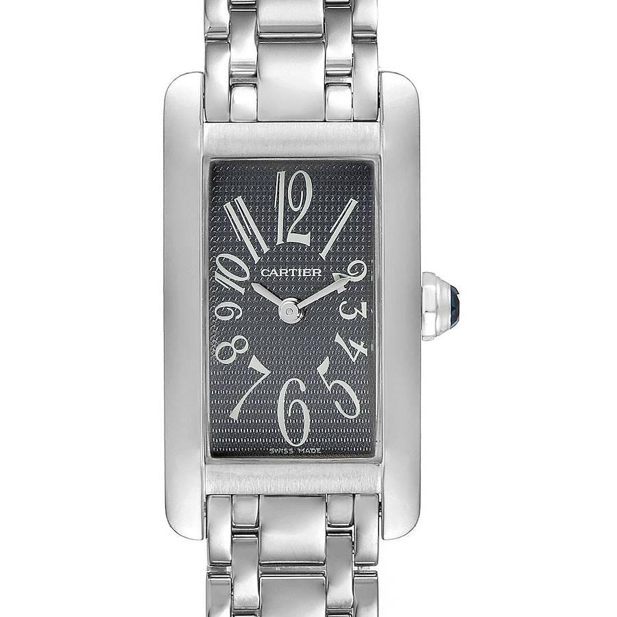 Cartier Tank Americaine Grey Dial 18K White Gold Ladies Watch 1713 SwissWatchExpo