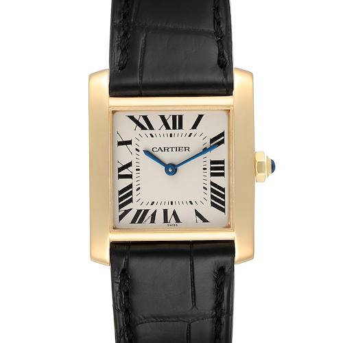 Photo of Cartier Tank Francaise Midsize Yellow Gold Black Strap Watch W5000356