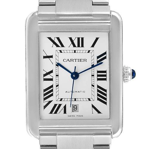 Photo of Cartier Tank Solo XL Silver Dial Automatic Steel Mens Watch W5200028 Box