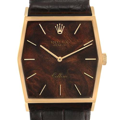 Photo of Rolex Cellini 18k Yellow Gold Wood Dial Vintage Mens Watch 4122
