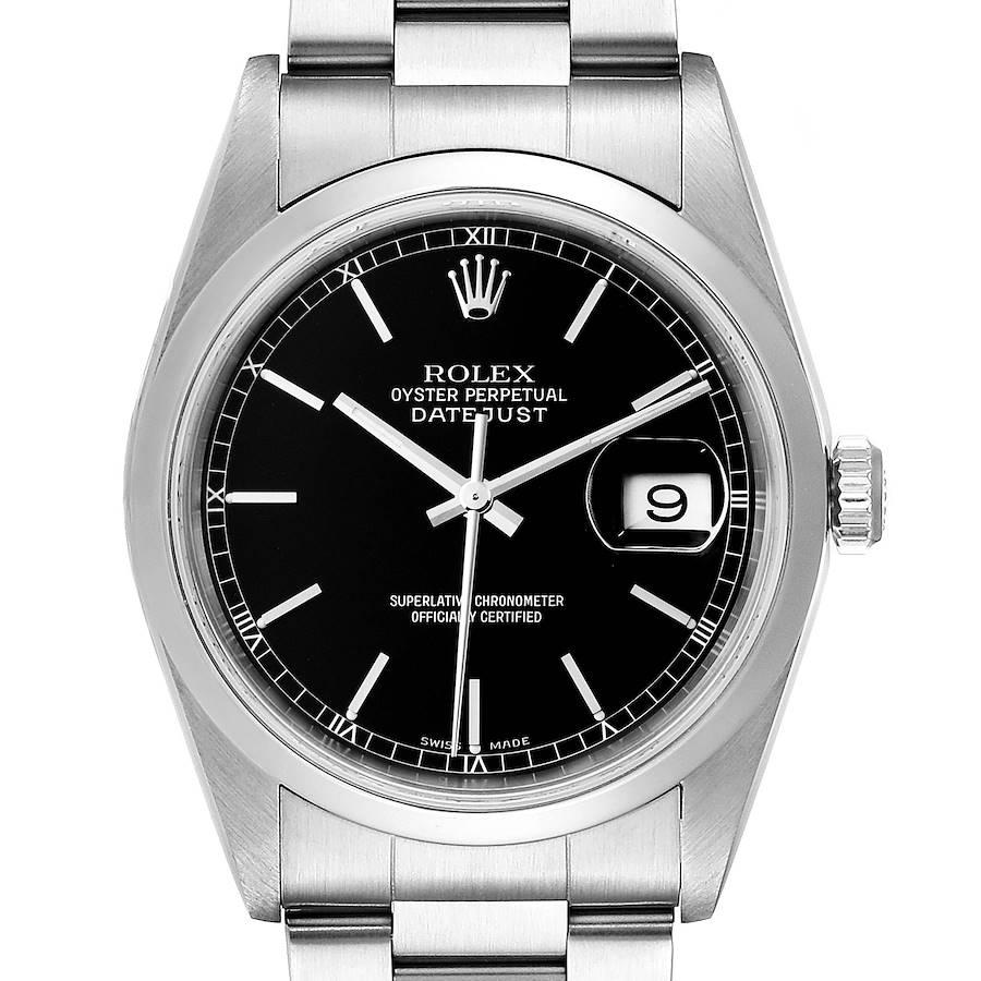 Rolex Datejust Black Dial Steel Mens Watch 16200 SwissWatchExpo