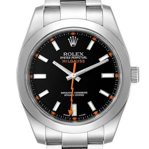 Photo of Rolex Milgauss Black Dial Domed Bezel Steel Mens Watch 116400 Box Card