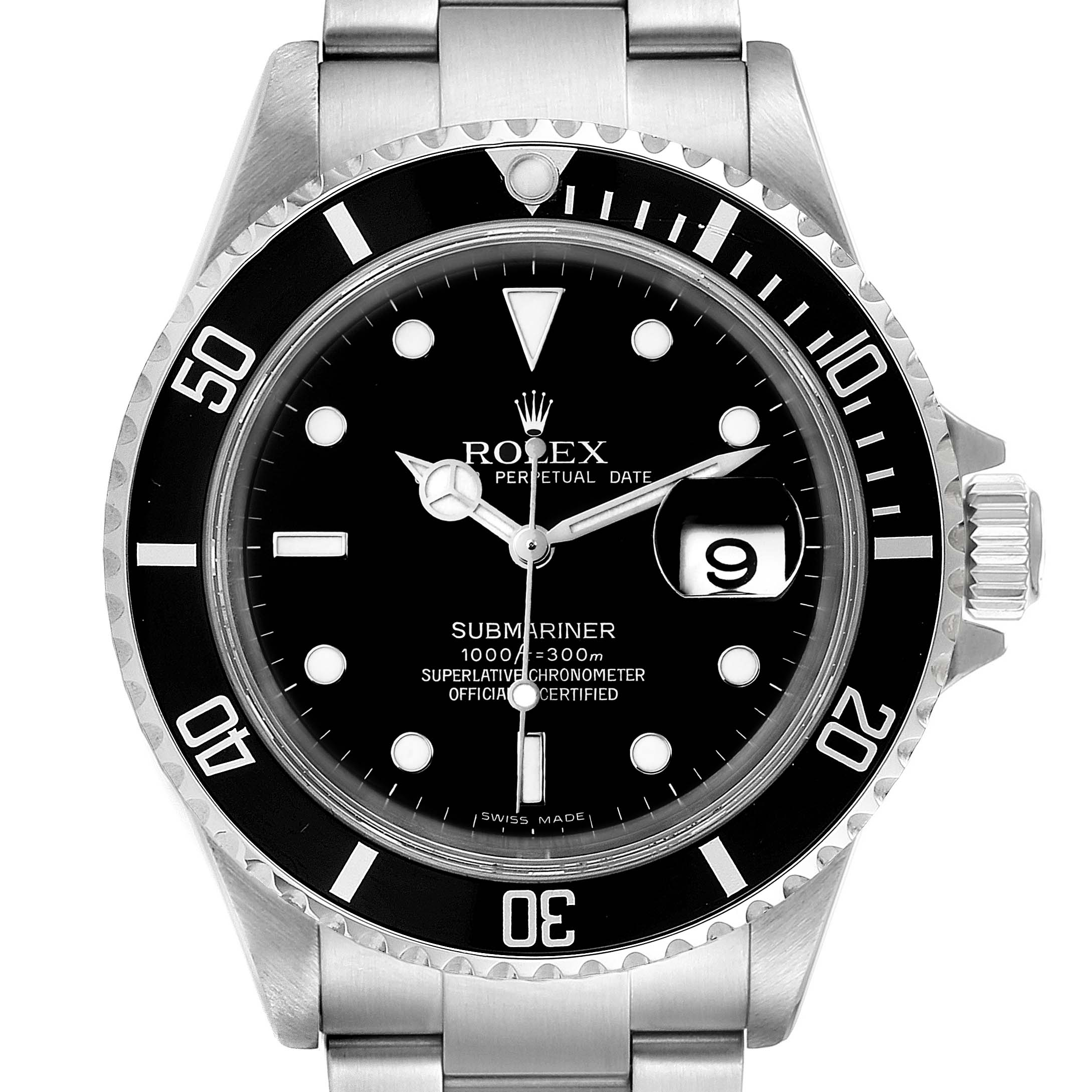 Rolex Submariner Black Dial Stainless Steel Mens Watch 16610 Box SwissWatchExpo