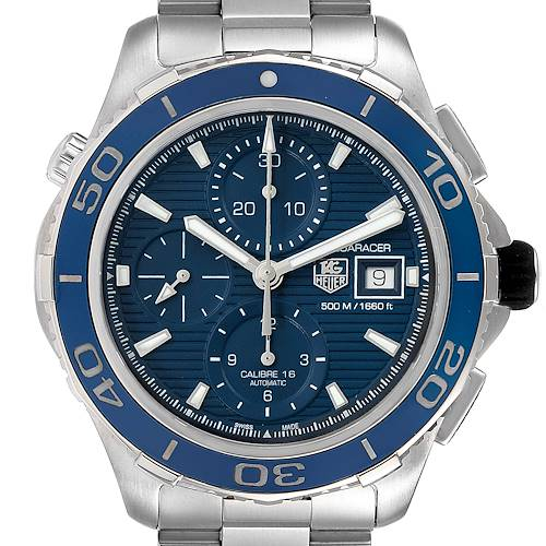Photo of Tag Heuer Aquaracer Blue Dial Steel Mens Watch CAK2112 Box Card