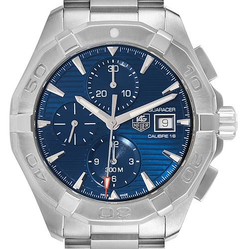Photo of Tag Heuer Aquaracer Blue Dial Steel Mens Watch CAY2112 Box Card