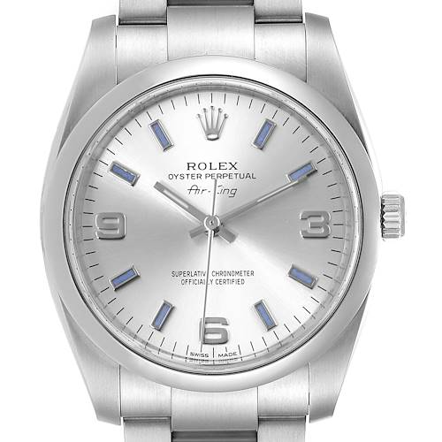 Photo of Rolex Air King 34 Silver Dial Blue Baton Hour Markers Steel Watch 114200