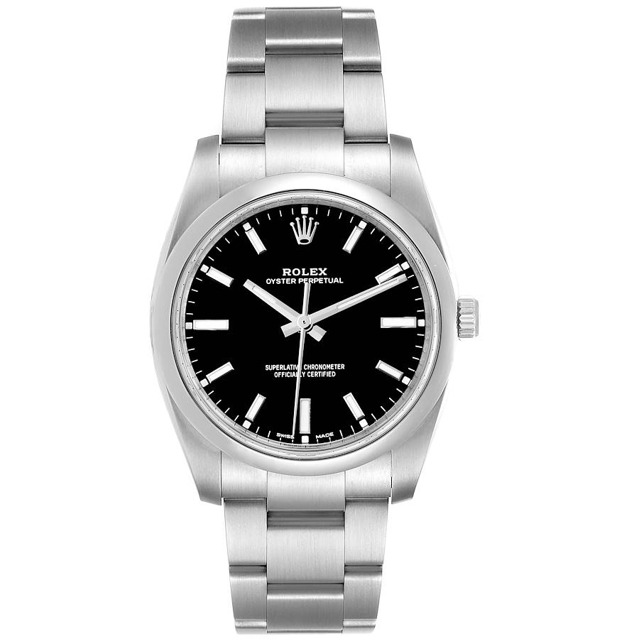 Rolex Oyster Perpetual Black Dial Steel Mens Watch 114200 Box Card SwissWatchExpo