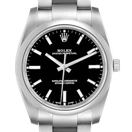 Photo of Rolex Oyster Perpetual Black Dial Steel Mens Watch 114200 Box Card