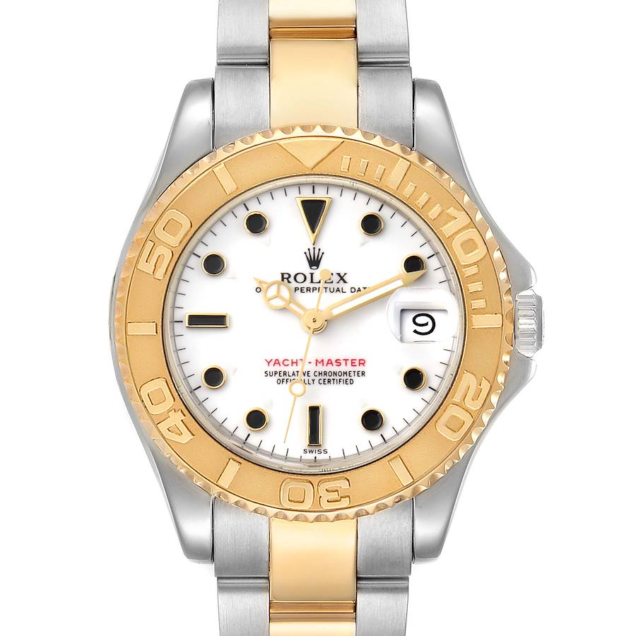 Rolex Yachtmaster 35 Midsize White Dial Steel Yellow Gold Watch 68623 SwissWatchExpo