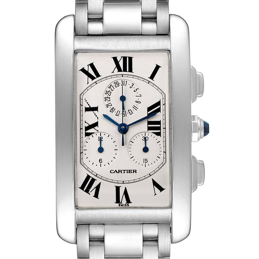 Cartier Tank Americaine Chronograph White Gold Mens Watch W26033L1 SwissWatchExpo