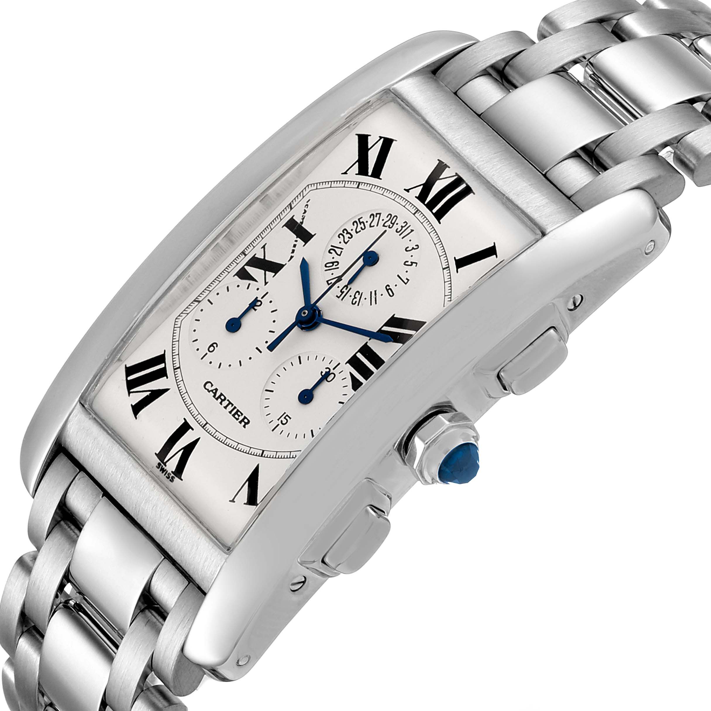Cartier Tank Americaine Chronograph White Gold Mens Watch W26033L1 SwissWatchExpo