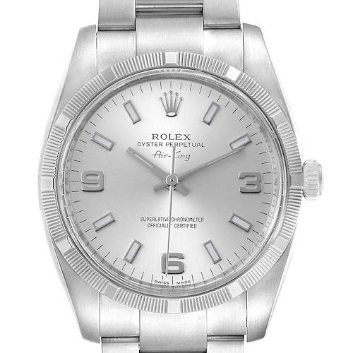 Photo of Rolex Air King Silver Dial Steel Mens Watch 114210 Box Card