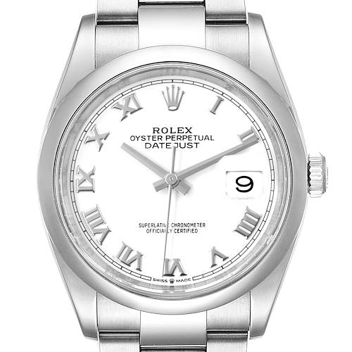 Photo of Rolex Datejust White Dial Steel Mens Watch 126200 Box Card