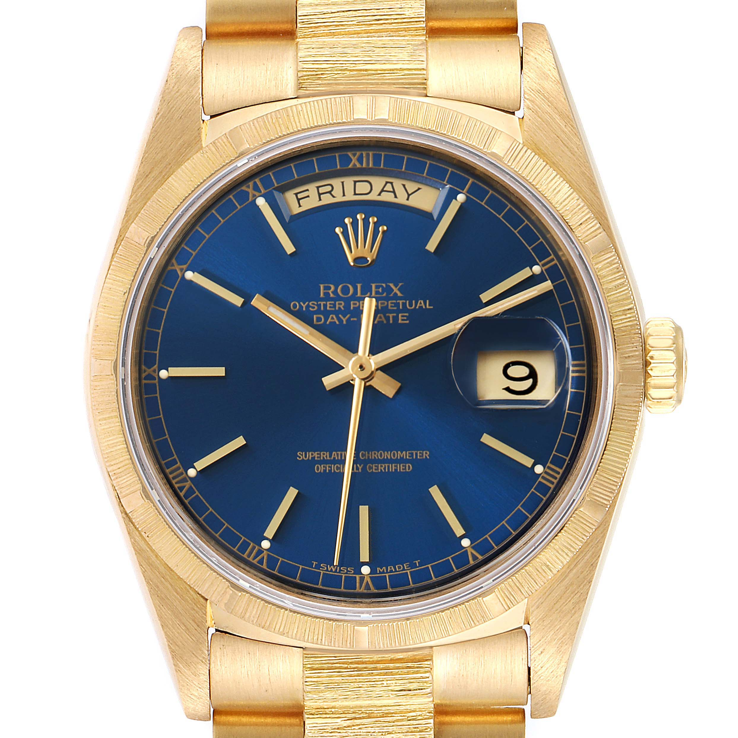 Rolex President Day-Date Blue Dial 18K Yellow Gold Mens Watch 18078 SwissWatchExpo