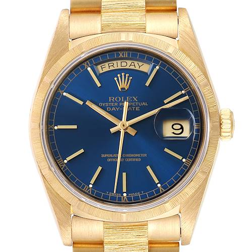 Rolex President Day-Date Blue Dial 18K Yellow Gold Mens Watch 18078