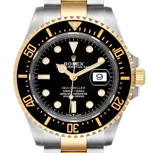 Photo of Rolex Seadweller Black Dial Steel Yellow Gold Mens Watch 126603 Box Card