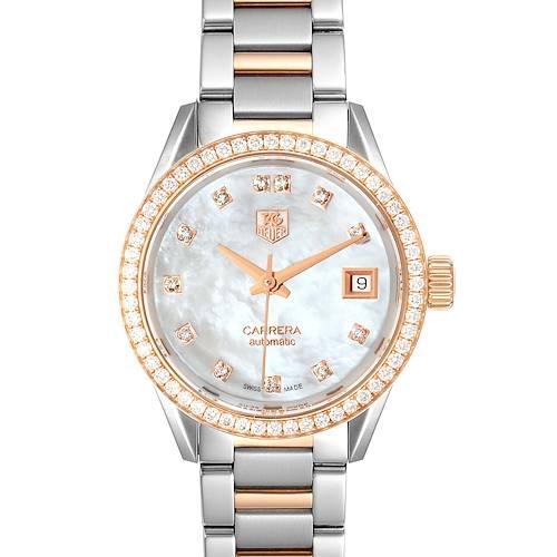 Photo of TAG Heuer Carrera MOP Diamond Steel Rose Gold Ladies Watch WAR2453