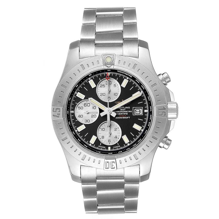 Breitling Colt Black Dial Stainless Steel Mens Watch A13388 Box SwissWatchExpo