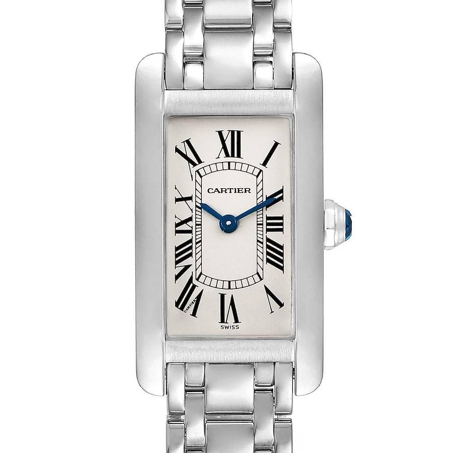 Cartier Tank Americaine 18K White Gold Ladies Watch W26019L1  SwissWatchExpo