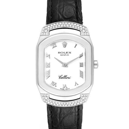 Photo of Rolex Cellini Cellissima White Gold Black Strap Diamond Ladies Watch 6692 Box Papers