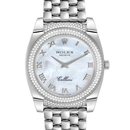 Photo of Rolex Cellini Cestello 18K White Gold MOP Diamond Ladies Watch 6321Box