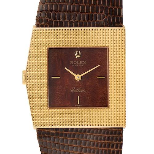 Photo of Rolex Cellini Midas Yellow Gold Wood Dial Vintage Mens Watch 4126