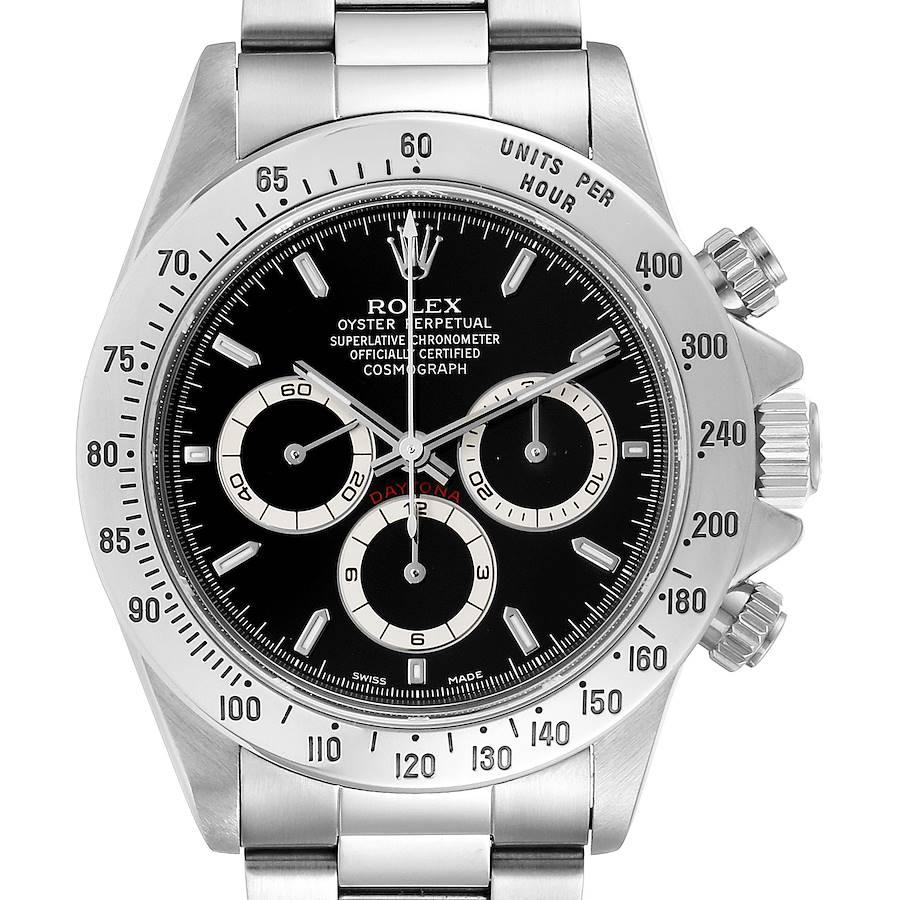 Rolex Daytona Zenith Movement Black Dial Chronograph Steel Watch 16520 Box Papers SwissWatchExpo