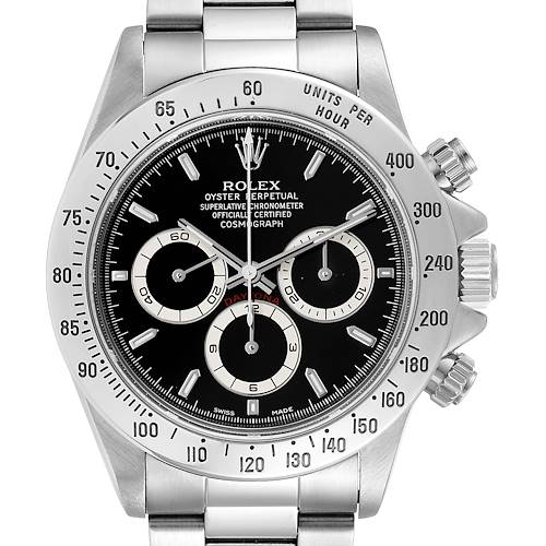 Photo of Rolex Daytona Zenith Movement Black Dial Chronograph Steel Watch 16520 Box Papers