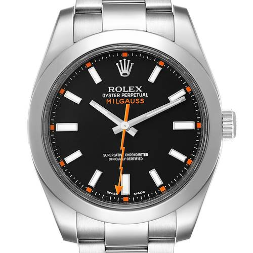 Rolex Milgauss Black Dial Domed Bezel Steel Mens Watch 116400 Box Card
