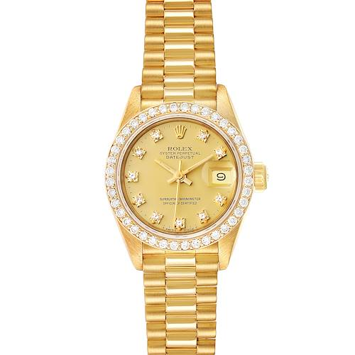 Photo of Rolex President Datejust Yellow Gold Diamond Ladies Watch 69138 Box