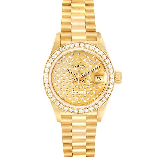 Photo of Rolex President Datejust Yellow Gold Pave Diamond Ladies Watch 69138 Box Papers