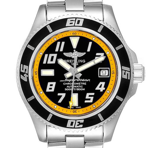 Photo of Breitling Superocean 42 Abyss Black Yellow Mens Watch A17364