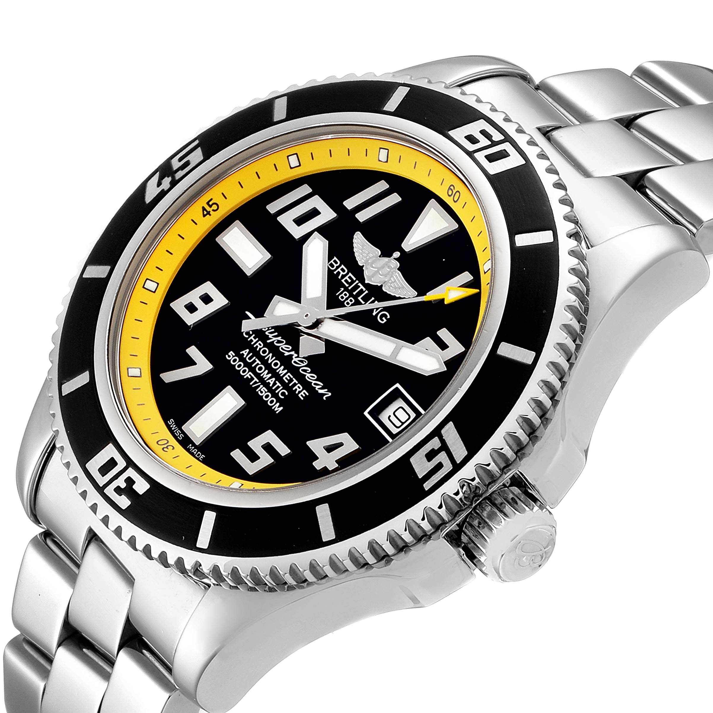 Breitling Superocean 42 Abyss Black Yellow Mens Watch A17364 SwissWatchExpo