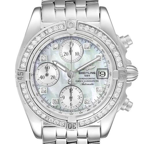Photo of Breitling Windrider Cockpit MOP Diamond Steel Mens Watch A13358