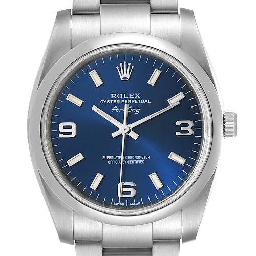 Photo of Rolex Air King 34 Blue Dial Smooth Bezel Unisex Watch 114200 Box