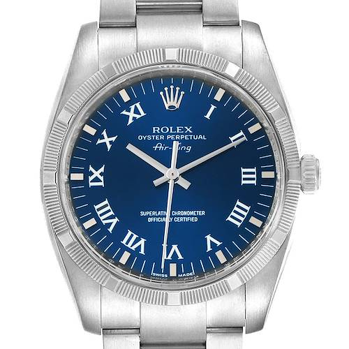 Photo of Rolex Air King Blue Roman Dial Steel Mens Watch 114210 Box